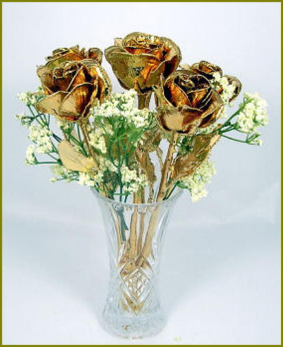 "6 11"" Gold Roses"