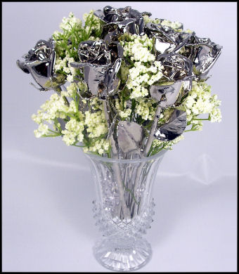 "One Dozen 11"" All Platinum Roses"