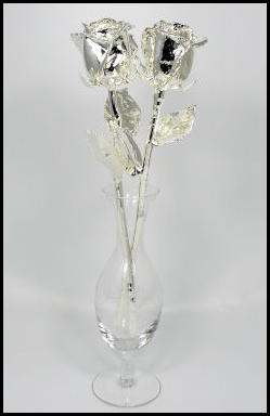 "Two 11"" All Silver Anniversary Roses with Vasse"