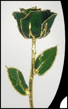 "11"" Dark Green Gold Rose"
