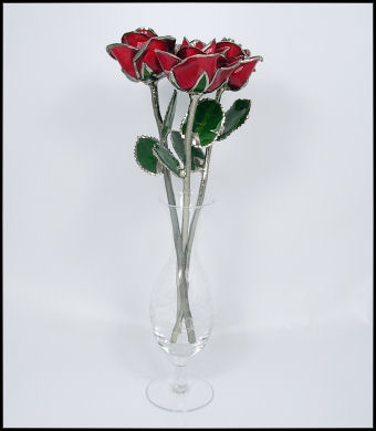 Trio of Platinum/Red Roses
