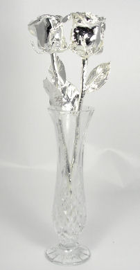 "Two 11"" All Silver Roses In A Vase"